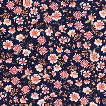 Tissu crêpe bleu marine imprimé grandes fleurs roses