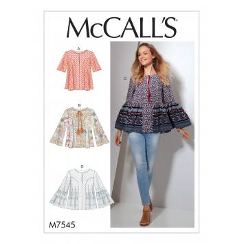 Patron Mc Call's M7545 Hauts pour jeune femme Taille 34-42