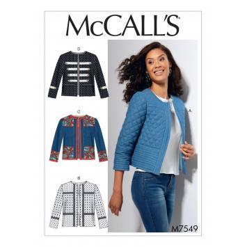 Patron Mc Call's M7549 Vestes pour jeune femme Taille 42-50