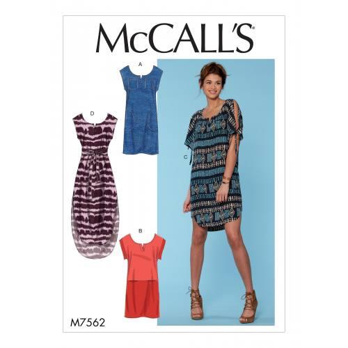 Patron Mc Call's M7562 : Robes et ceinture pour jeune femme 44-52