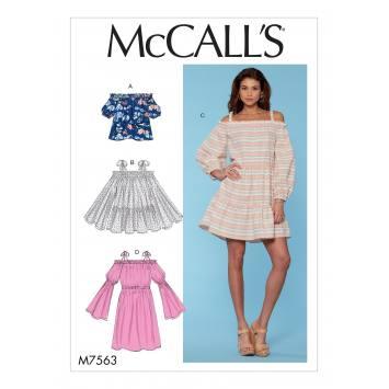 Patron Mc Call's M7563 Haut, tunique et robes pour jeune femme 32-42