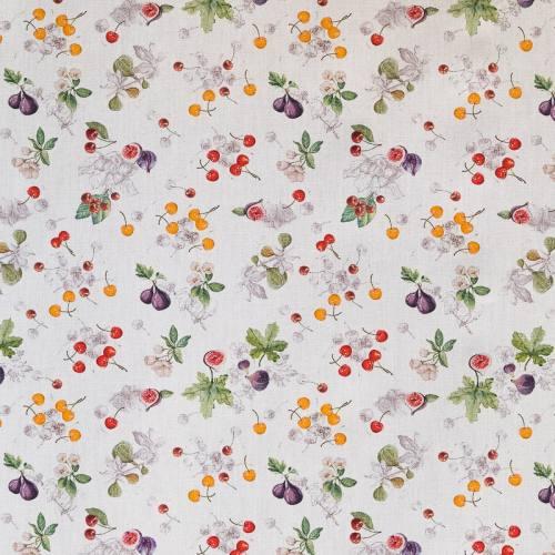 Popeline blanche imprimé cerises et figues