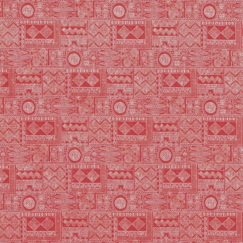 Popeline rouge à motifs ethniques