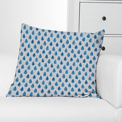 Toile polycoton aspect lin imprimé goutte bleue