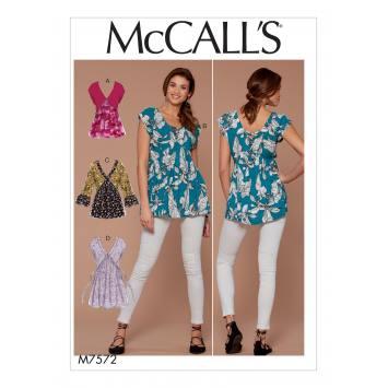 Patron Mc Call's M7572 Hauts pour jeune femme 34-42