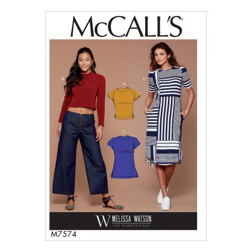 Patron Mc Call's M7574 : Hauts, tunique et robe pour jeune femme 42-50