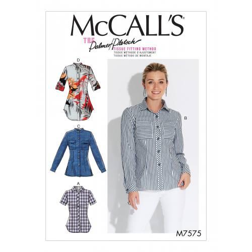 Patron Mc Call's M7575 : Chemises pour jeune femme 36-42
