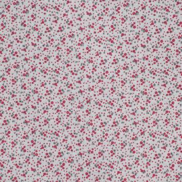 Toile polycoton aspect lin imprimé roses bordeaux