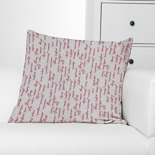 Toile polycoton aspect lin imprimé écriture bordeaux