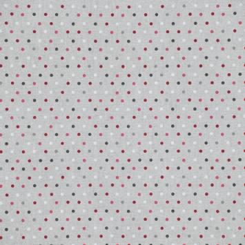 Toile polycoton aspect lin imprimé pois bordeaux, gris et blanc