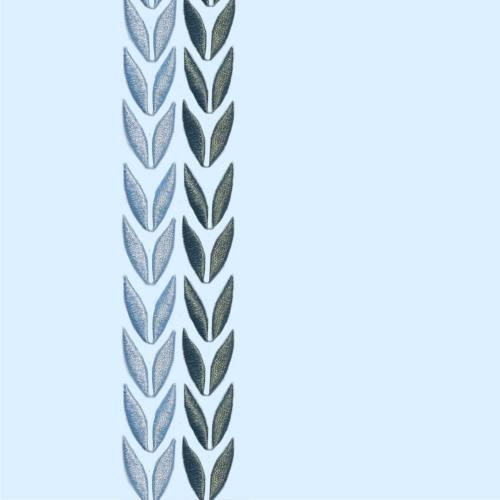 Coton percale bleu broderie motif feuille