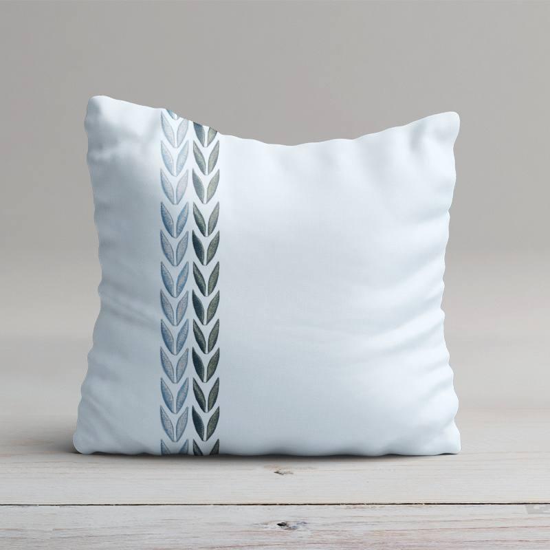 coton percale bleu broderie motif feuille pas cher. Black Bedroom Furniture Sets. Home Design Ideas