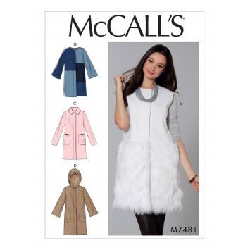 Patron Mc Call's M7481 : Gilet et manteaux pour jeune femme 42-50