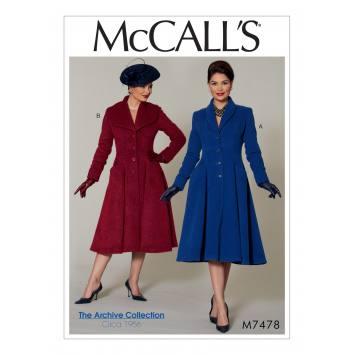Patron Mc Call's M7478 : Manteaux pour jeune femme 34-42