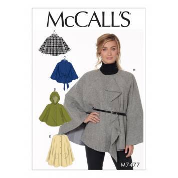 Patron Mc Call's M7477 : Capes et ceinture pour jeune femme 32-42