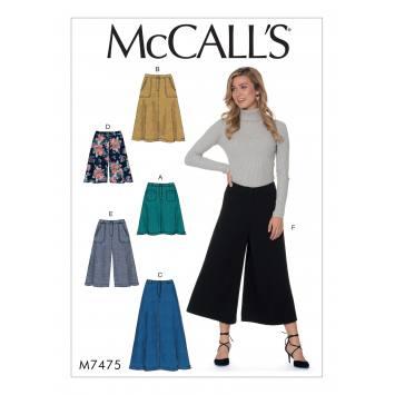 Patron Mc Call's M7475 : Jupes, short et jupe-culotte pour jeune femme 34-42