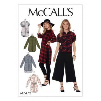 Patron Mc Call's M7472 : Chemises et ceinture pour jeune femme 34-42