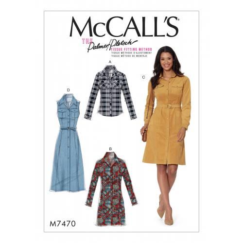 Patron Mc Call's M7470 : Chemise et robes pour jeune femme 42-50