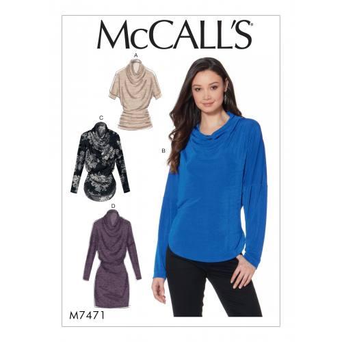 Patron Mc Call's M7471 : Hauts et tunique pour jeune femme 42-50