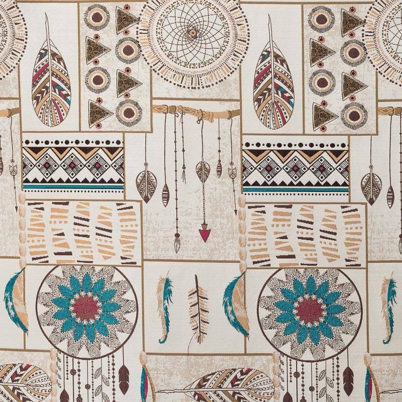 jacquard motif indien multicolore pas cher tissus price. Black Bedroom Furniture Sets. Home Design Ideas