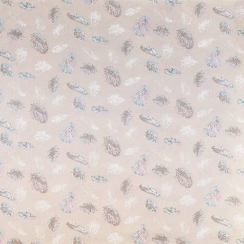 Coton beige motif plume