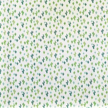 Coton blanc motif cactus verts