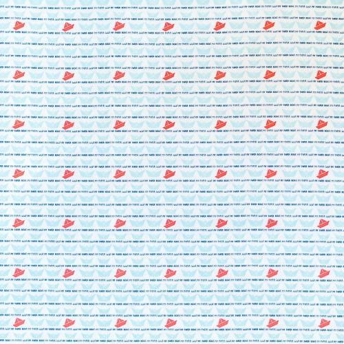 Coton blanc imprimé bateau en papier