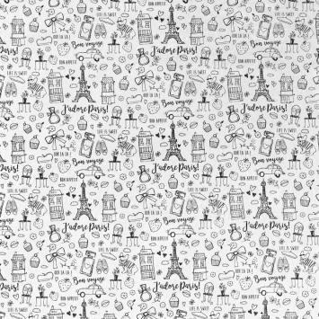 Tissu coton à colorier motif Paris