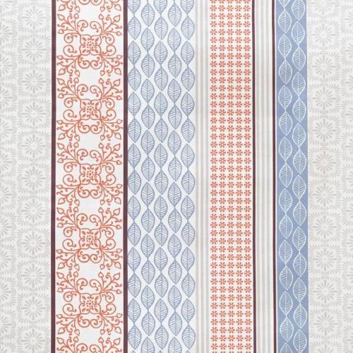 Coton imprimé patchwork bleu, rouge et gris