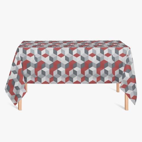 Toile cirée blanche et grise motif géométrique rouge