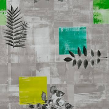 Toile cirée grise, bleue et verte motif feuillage