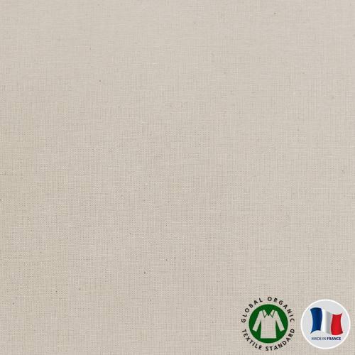 Cretonne de coton bio naturelle grande largeur Oeko-tex