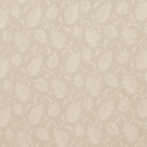 Jacquard polycoton beige motif feuilles blanches grande largeur