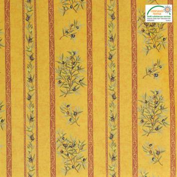 Tissu provençal enduit jaune Clos des oliviers