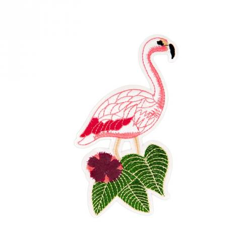 "Écusson brodé ""Flamant rose"" thermocollant"