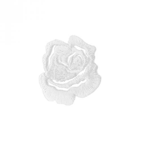 "Écusson brodé ""Petite rose"" thermocollant blanc"