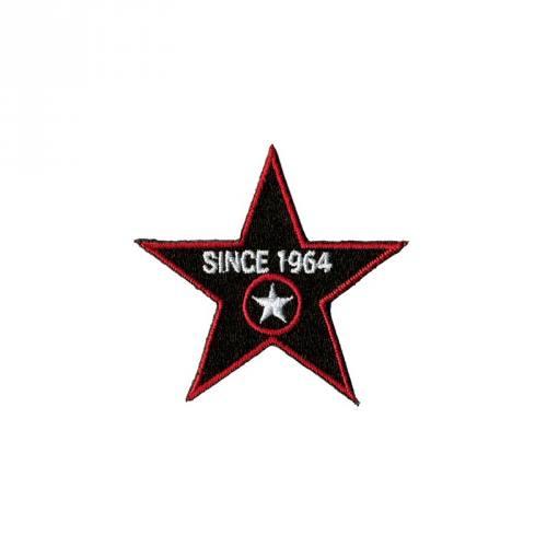 """Écusson brodé """"Étoile since 1964"""" thermocollant noir et rouge"""