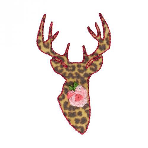 """Écusson """"Cerf imprimé léopard"""" thermocollant"""