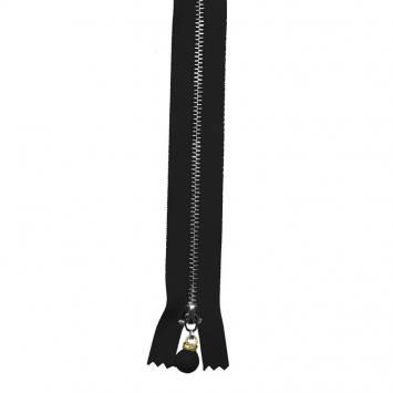 Fermeture 20 cm métal noire avec tirette perle
