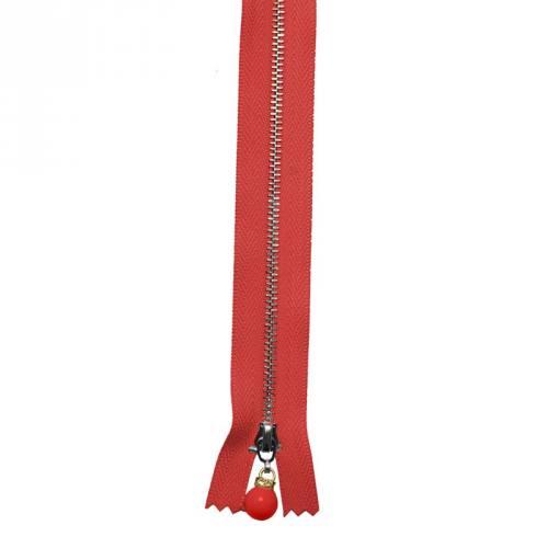 Fermeture 20 cm métal rouge avec tirette perle