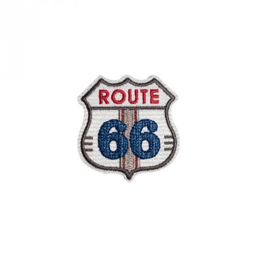 """Écusson brodé """"Route 66"""" thermocollant blanc"""