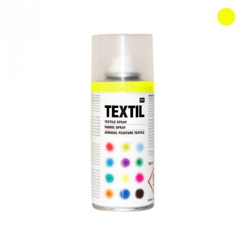 Bombe de peinture textile jaune fluo 150ml