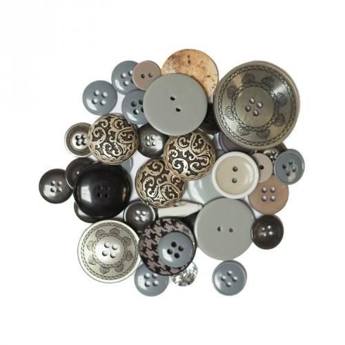 Lot de 50 g de boutons gris et noirs
