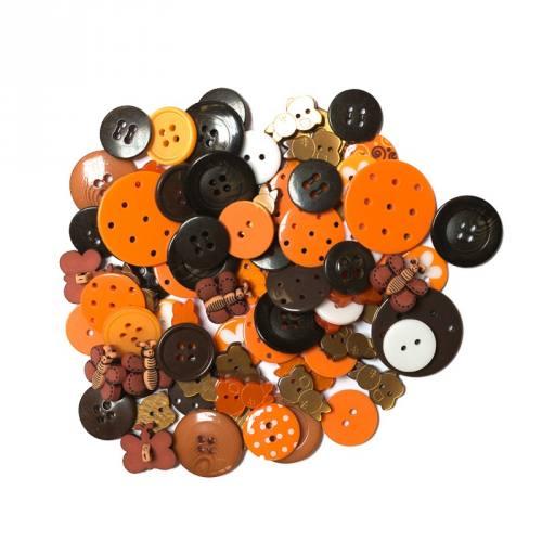 Lot de 50 g de boutons oranges et marron