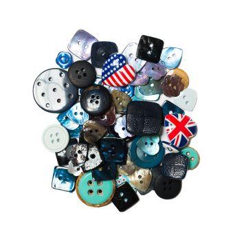 Lot de 50 g de boutons bleus