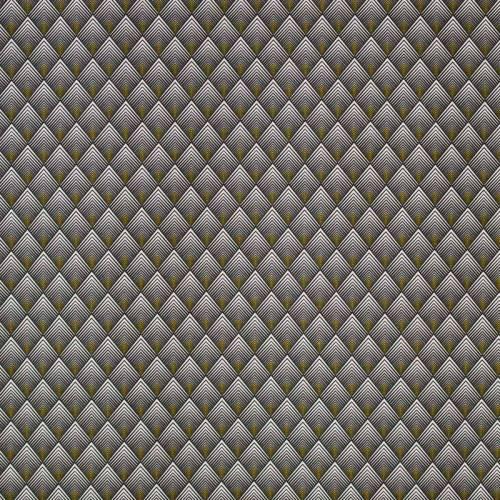 Coton gris et jaune motif losange