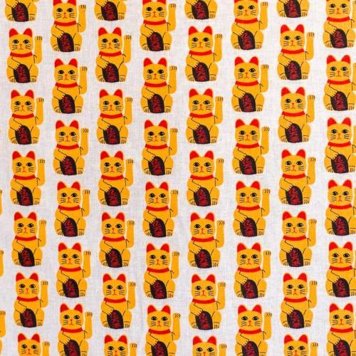 Coton écru imprimé chat porte bonheur japonais