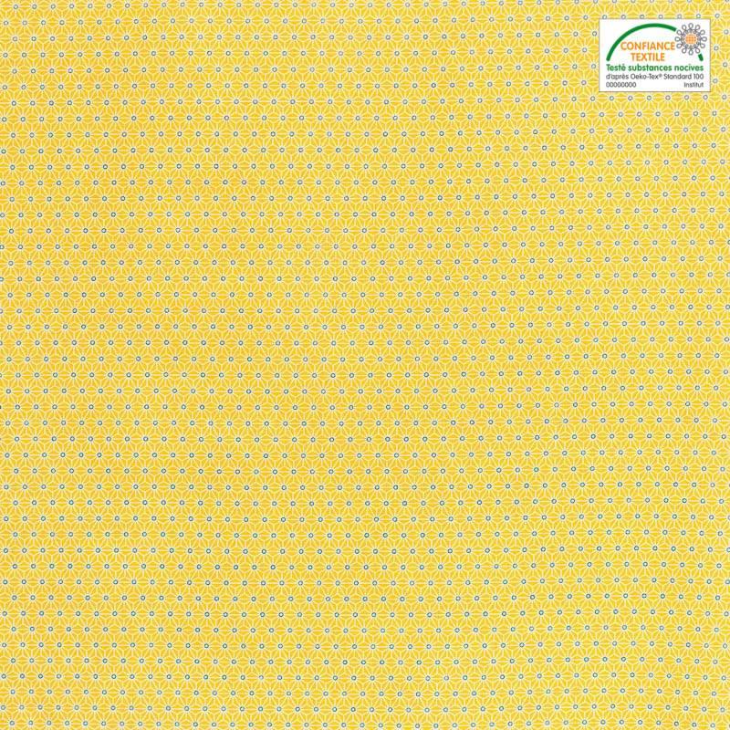 Coton jaune petit motif asanoha blanc