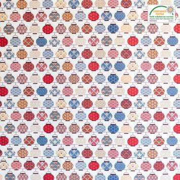 Coton blanc imprimé lampions rouges et bleus