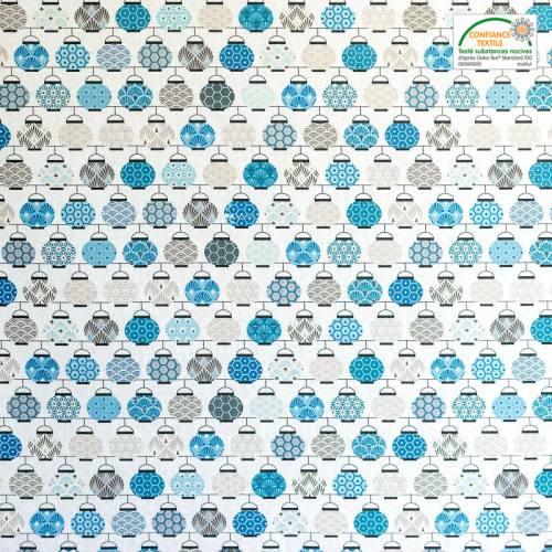 Coton blanc imprimé lampions bleus et gris